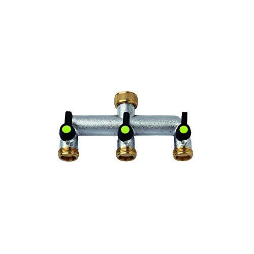 Aquajet 468L Grifo de 3Vías con Independiente y Caminos de Agua Regulable con Etiqueta, Plateado, 3/4-3/4x 3/4x 3/4de Pulgada