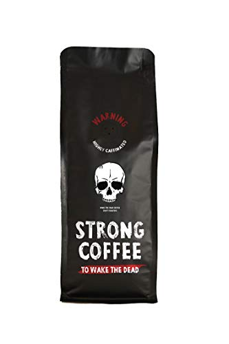 STRONG COFFEE Espresso Extrem Starker Kaffee geröstet und verpackt in Großbritannien - säurearm - Frisch Langsam gerösteter gemahlener Kaffee - 500g Packung Gemahlen