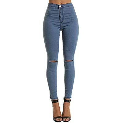 HOSDHigh Waist Casual Skinny Jeans for Women Hole Vintage Girls Slim Ripped Denim Pencil Pants High Elasticity by HOSD