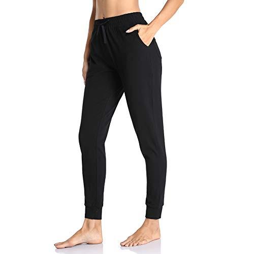 Gimdumasa Jogginghose Damen Slim Fit Baumwolle Sporthose Freizeithose mit Streifen Traininghose Sweathosen mit Seitentaschen für Jogging Laufen Fitness GI06 (Schwarz, Large)