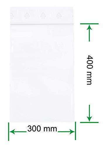 HeiZip 100 x Druckverschlussbeutel 300 x 400 mm, 90 mµ/MY (extra stark), Transparent, Unbedruckt, Wiederverschliessbar, Lebensmittelecht