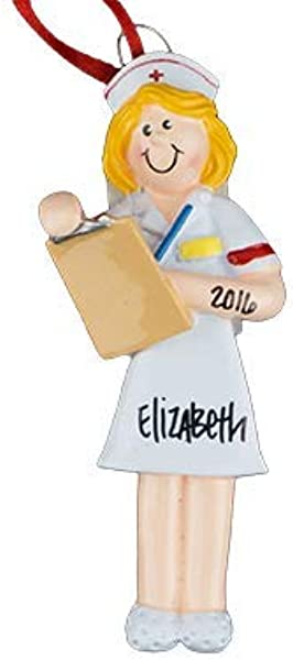 Nurse Blonde Personalized Ornament Unique Christmas Tree Ornament Classic Decor For A Holiday Party Custom Decorations For Family Kids Baby Military Sports Or Pets