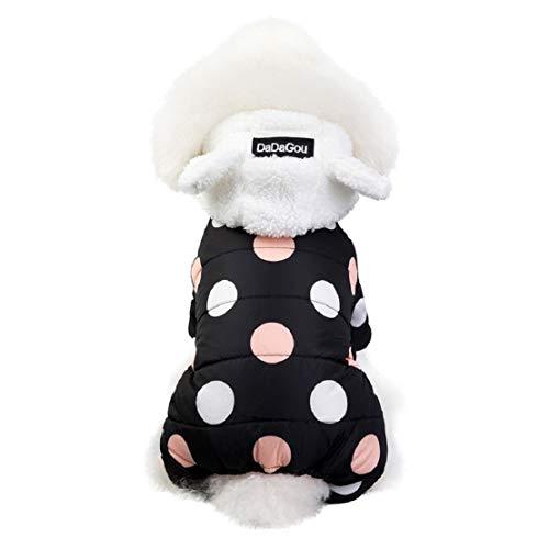 Bluelucon herfst winter comfort kat honden hoodie jas polka dot jas wintermantel voor honden print capuchon mantel