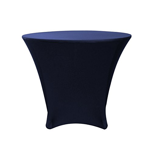 Your Chair Covers - 36 x 30 inch Cocktail Round Stretch Spandex Table Cover - Navy Blue, Fitted Elastic Tablecloth for Round Tables