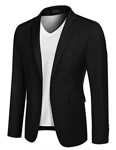 COOFANDY Mens Slim Fit Dress Jacket Suit Blazer Lightweight Sport Jackets Casual Sports Coat (Black L)