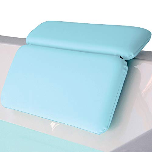 Gorilla Grip Original Spa Bath Pillow Features Powerful Gripping Technology, Comfortable, Soft, Large, 14.5x11, Luxury 2 Panel Design for Shoulder, Neck Support, for Hot Tub, Jacuzzi, Spas, Spa Blue