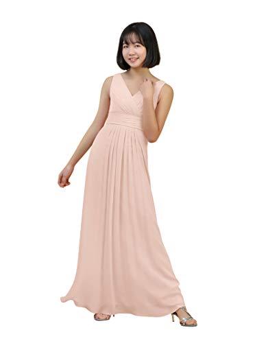 Alicepub Chiffon Junior Bridesmaid Dresses V-Neck Flower Girl Kid Wedding Party Homecoming Dress, Pearl Pink, US7