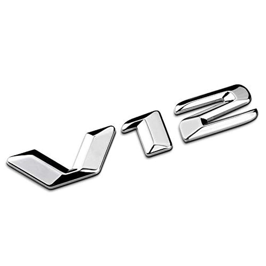 の中でベリーの間にJicorzo - 3D Silver Chrome Zinc alloy V12 Emblem Sticker Car Styling Decal Fender Trunk Badge For Mercedes Benz CL600 W140 C140 S600 600SE