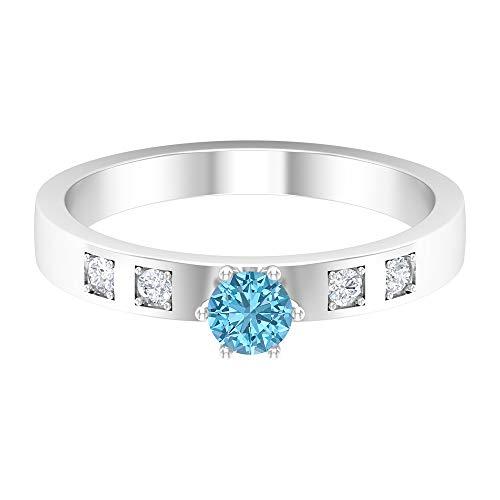 Piedra de nacimiento de diciembre — 4 mm solitario redondo de topacio azul Londres con diamante, anillo de boda de 5 piedras, anillo de oro macizo, 14K White Gold, London Blue Topaz, Size:US 66