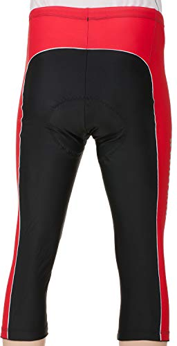 Stanteks Radhose 3/4 Fahrradhose Radlerhose mit Sitzpolster Coolmax SR0060, Schwarz/Rot, M - 4
