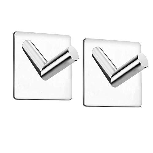 Celbon Selbstklebend Handtuchhaken Ohne Bohren Bad und Küche Edelstahl Chrom Kleiderhaken (2 STÜCK, Platz-Chrom)
