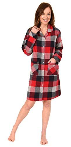 NORMANN-Wäschefabrik Damen Flanell Nachthemd im edlen Karodesign zum durchknöpfen - auch in Übergrössen bis 60/62, Farbe:rot, Größe2:44/46
