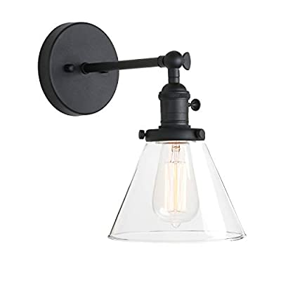 Pathson Industrial Wall Sconce with Switch, Indoor Wall Lighting Fixtures with Funnel Clear Glass Shade, Vintage Vanity Lamps for Bathroom Lighting