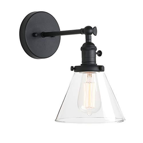 Pathson Lights - Lámpara de pared (diámetro de 7,3 pulgadas, con embudo de cristal transparente, diseño vintage, industrial, base de metal, montaje empotrado