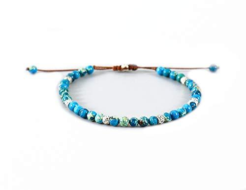 EXINOX Pulsera de Cuentas Piedra Tibetana con Abalorios Chakra de Yoga | Hombre Mujer | (Azul Claro)