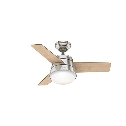 Hunter Finley Indoor with LED Light with Pull Chain Control, 36, Brushed Nickel