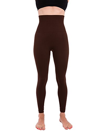 Homma Activewear Thick High Waist Tummy Compression Slimming Body Leggings Pant (Medium, Brown)