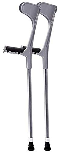 Walking Support Crutch, Ergonomic Handle,Crutches Adults,Forearm Crutches, Lightweight Arm Cuff Crutch, Non Skid Replaceable Rubber Tips, Double Adjustable Crutches (Color : Silver)