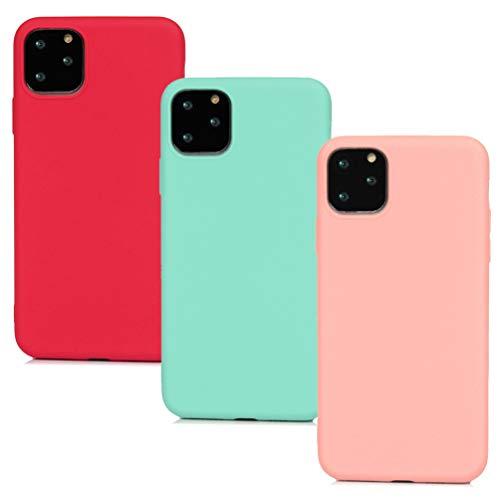 MUSESHOP 3X para iPhone 11 Pro MAX Funda, Color Sólido Mate Case Suave TPU Silicona Carcasa Estuche Delgado Silicona Funda del Teléfono Móvil para Hombres Mujeres, Verde Menta, Rosa, Rojo