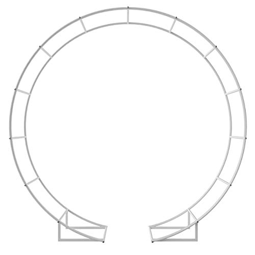 6.5 Ft Round Metal Arch Garden, Arbor for Garden, Outdoor, Party Decoration, Easy Assembly (with Support Legs, Ground Anchors, Screwdriver, Instructions)