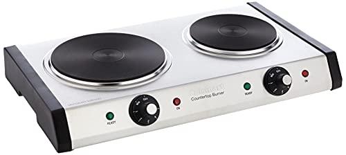Cuisinart Cast-Iron Double Burner, 11.5'(L) x 19.5'(W) x 2.5'(H), Silver
