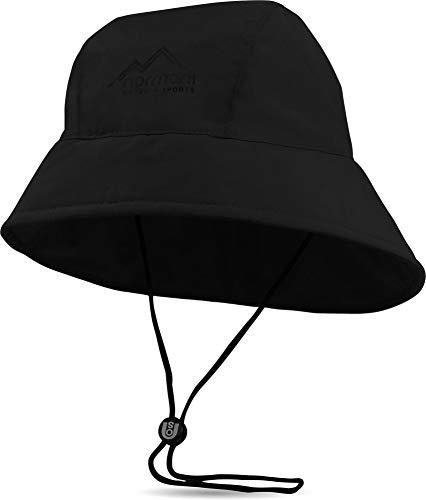 normani Südwester Regenmütze Regenhut mit Netzfutter, Kordelzug und reflektierendem Element - 100% wasserdicht Farbe Schwarz Größe XL/61
