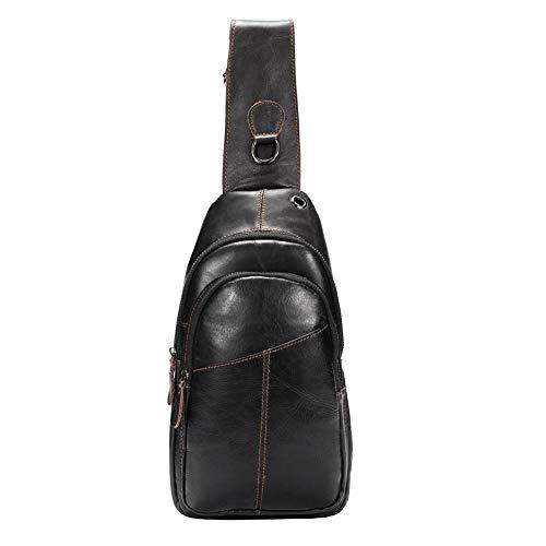 SDINAZ borsa a tracolla da uomo borsa a tracolla borsa a tracolla primo strato in pelle bovina moda casual borsa nera