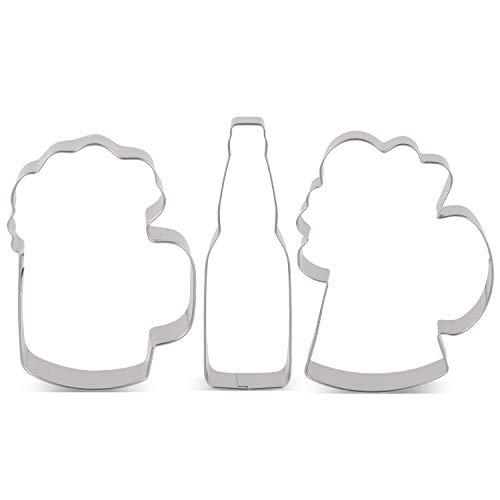 KENIAO Juego de Cortadores Galletas Oktoberfest Cerveza Moldes para Galletas - 3 Piezas - Jarro de Cerveza (Tamaño Grande y Pequeño) y Botella de Cerveza - Acero Inoxidable