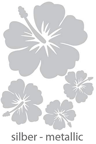 DD Dotzler Design - 4 Hibiskus Blüten - Silber metallic - Set Autodekorbogen Aufkleber Autoaufkleber Tattoo Blumen Floral Car