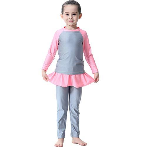 Muslimische Badebekleidung Für Kinder Mädchen Bescheidenen Islamischen Langarm Badeanzüge Schwimmanzug Burkini Schwimmbekleidung Hijab Abaya Dubai Arabisch Türkisch Muslim Grau 11-12 Jahre