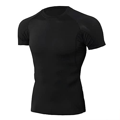 Camiseta Compresión Camiseta Ciclismo Slim Fit Transpirable Camiseta Ciclismo Transpirable Hecha Malla Camiseta Ciclismo Gimnasio Verano Manga Corta Cuello Redondo F-Black L