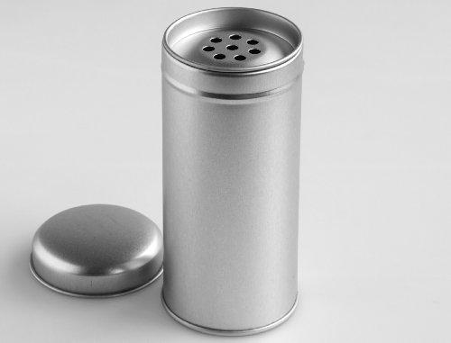 12er Pack schlanke Gewürzdosen mit grobem Streueinsatz und Deckel | Ideal für grobe Gewürze oder Kräuter| Höhe: ca. 110 mm, Ø ca. 50 mm | Dosen Material: Weißblech | BPA-frei und lebensmittelecht