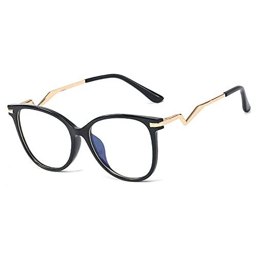 Gafas Luz Azul,Bisagra De Resorte Redonda Retro Tr90, Montura De Anteojos Ópticos para Mujer, Anteojos Transparentes Anti Luz Azul, Montura De Anteojos para Hombre con Patas Únicas, Negro, Talla Ún