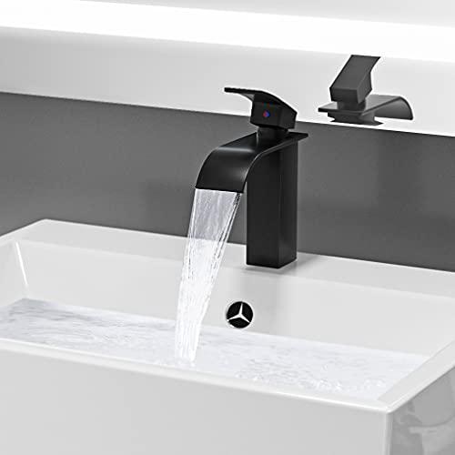 Auralum Grifo Lavabo Cascada Negro Mate, 183 mm Alto Mezclador Monomando para Lavabo con Sistema de ahorro de agua, Agua Fria y Caliente Disponible, Grifo de Baño de Latón
