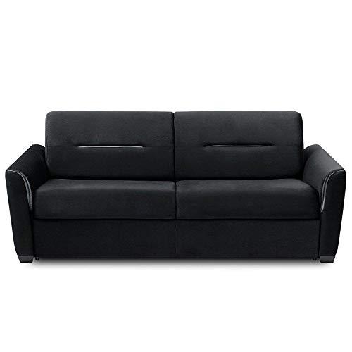 INSIDE Canapé Convertible Express Amazone Matelas 140cm Comfort BULTEX® 14cm Cuir Vachette Noir