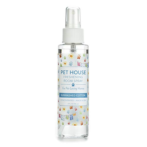 One Fur All Pet House Pet Friendly Freshening Room Spray in 6 Fragrances - Non Toxic - Concentrated Air Freshening Spray Neutralizes Pet Odor – Effective, Fast-Acting – 4 oz - (Sunwashed Cotton)