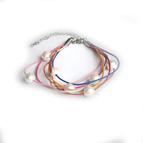 ELAINZ HEART - Braccialetto colorato in vera pelle con perle bianche, 7 colori