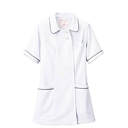 ナースリー オープンカラーパイピングジャケット 透けにくい ストレッチ 医療 看護 白衣 レディース 3L ホワイト×ネイビー 769503A
