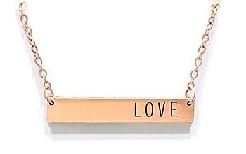 Modern Rose Gold Necklace  LOVE  bar necklace - minimalist chic dainty adjustable