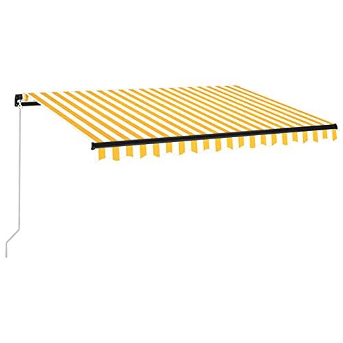 Tidyard Toldo Manual Retráctil con Tira LED Brazo Plegable Impermeable Protección Solar Porche Jardín Sombra Exterior Terraza Patio Amarillo y Blanco 350x250 cm