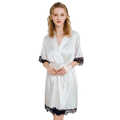FELZ Camisón con Bata De Noche Mujer Nuevas Mujeres Sexy Satin Pajamas Bata De Manga Larga Mujer Camisón Transparente Salto De Cama Suave Ropa De Dormir Babydoll Lencería Kimono Pijamas