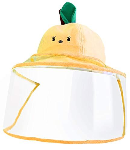 Keleily Sombrero Protector Bebe con Pantalla de Protección Facial, Sombrero Protector Facial Niños Sombrero Protector de Pescador para Exteriores, Prueba de Polvo, Prueba de Viento, Amarillo