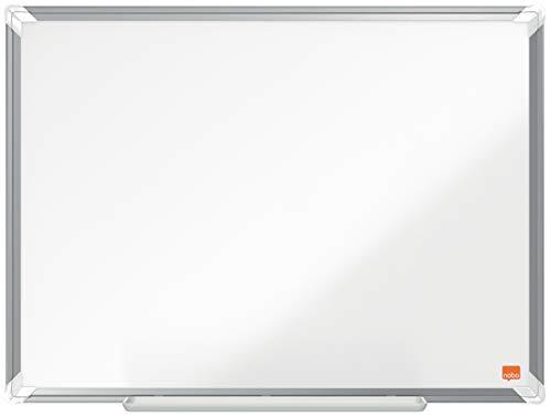 Nobo Lavagna Bianca Magnetica Smaltata, 600 x 450 mm, Cornice in Alluminio, Sistema di Montaggio ad Angolo, Incl. Pennarello, Gamma Premium Plus, Bianco, 1915143