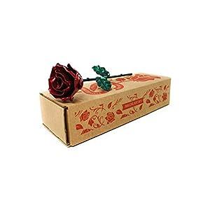 Eisen Schmiede ewige Rose Rot und Grün – Handgeschmiedet