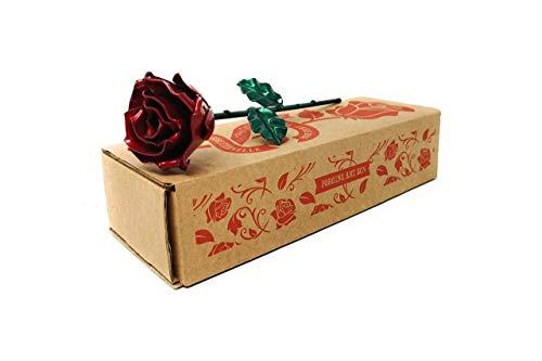 Rosa Eterna de Hierro Forjado Roja y Verde - Forjada a Mano