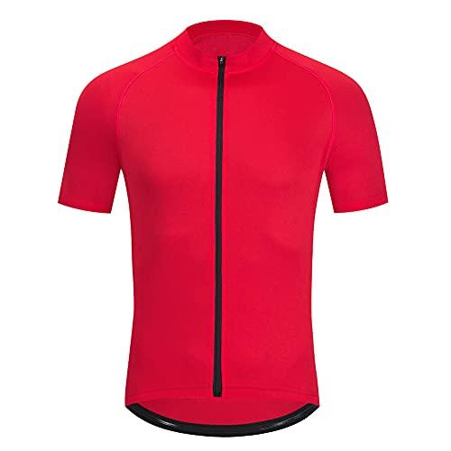 Maillot Ciclismo Hombre, Manga Corta Camiseta, Tops Ciclismo Bicicleta Bici Transpirable Secado Rápido Reflectante Jersey (Red,XXL)