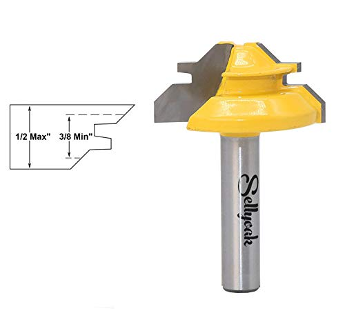 45° Lock Miter Router bit with 1/4 Inch Shank, SellyOak 1/2 Inch Stock Angle Miter Joint Router Bit Woodworking Cutter, Professional Wood Cutting Tool for Wood, MDF & More (Shank1/4'', Stock1/2'')