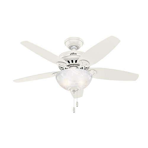 "Hunter Cedar Park Indoor Ceiling Fan with LED Light and Pull Chain Control, 44"", Fresh White"