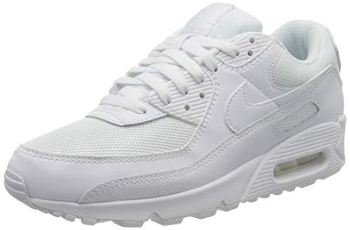 Nike Air MAX 90, Zapatillas para Correr Hombre, Blanco (White/White/White/Wolf Grey), 41 EU
