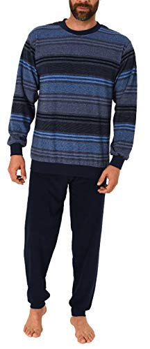 Eleganter Herren Frottee Pyjama Schlafanzug mit Bündchen, auch in Übergrößen - 291 101 93 708, Farbe:Marine, Größe2:56